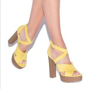 Yellow Cayla shoedazzle sandal heels